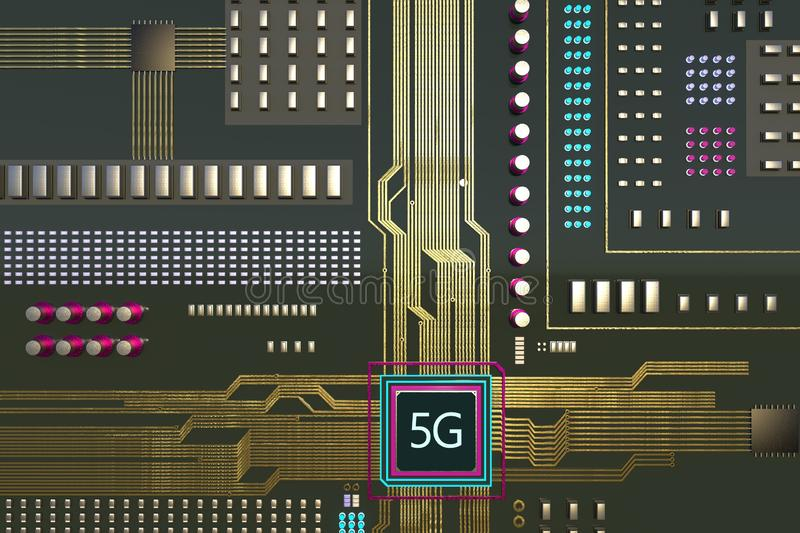 5G next generation cellular network technology circuit board 3D rendered in military olive green color. Day mode rendered 5G next generation cellular network royalty free illustration