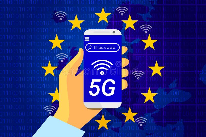 5G next generation wireless internet connection. Flag of the European Union on background of a Europe map. Mobile phone in hand. vector illustration royalty free illustration