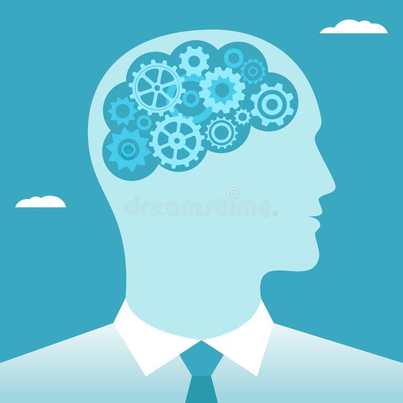 G?nge im Gehirnmann Die goldene Taste oder Erreichen f?r den Himmel zum Eigenheimbesitze lizenzfreie abbildung