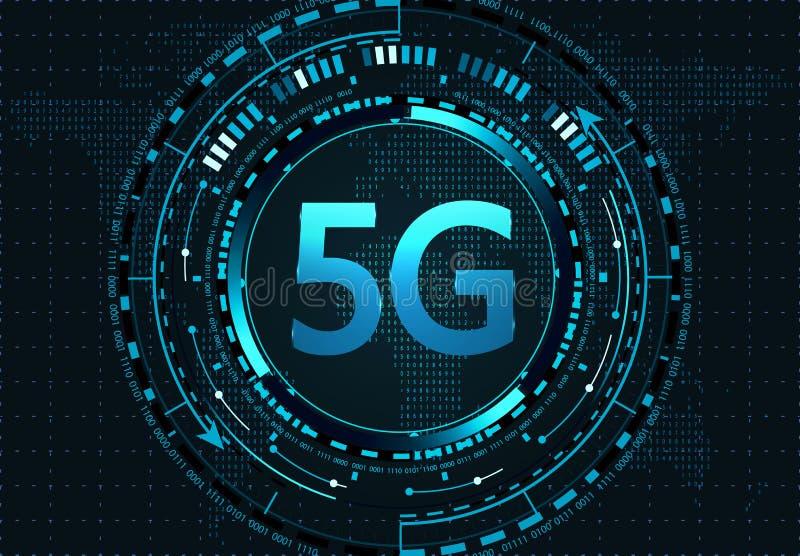 5G nieuwe draadloze hoge snelheidsinternetverbinding en WiFi Illustratie stock illustratie