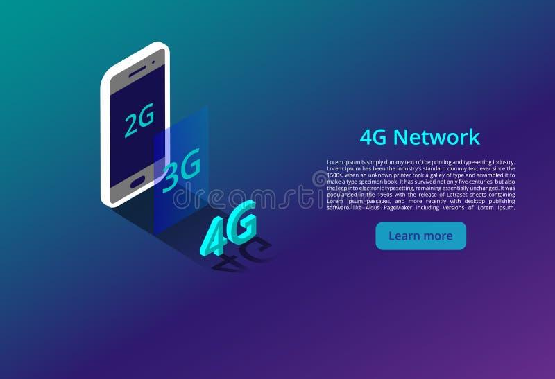 4G nieuwe draadloze Internet-wifiverbinding Isometrisch vectorconcept automatisering met de illustratie van het computervoorzien  stock illustratie