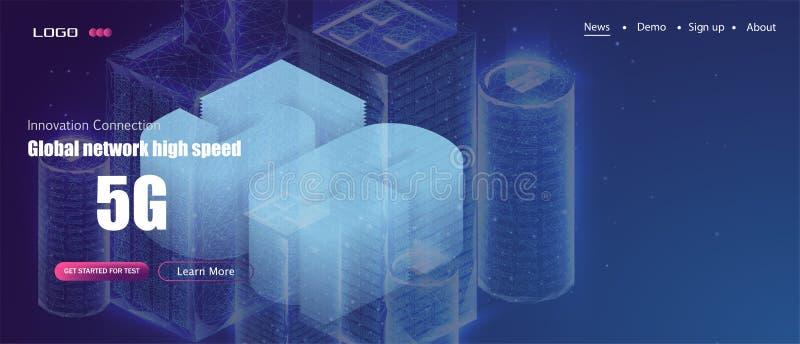 5G nieuwe draadloze Internet-wifiverbinding Slimme isometrische stad of de intelligente bouw vector illustratie