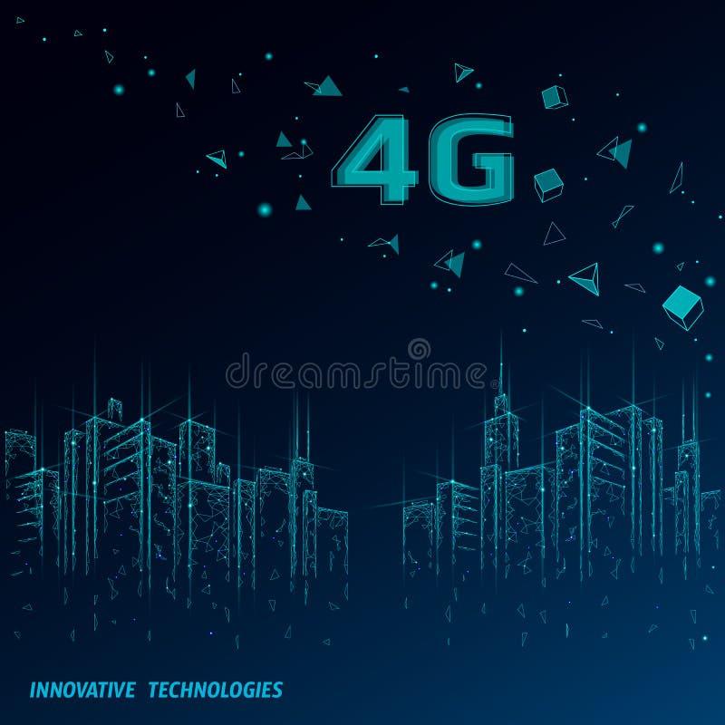 4G nieuwe draadloze Internet-wifiverbinding Stedelijke gebouwencityscape Globale de innovatieverbinding van de netwerkhoge snelhe stock illustratie