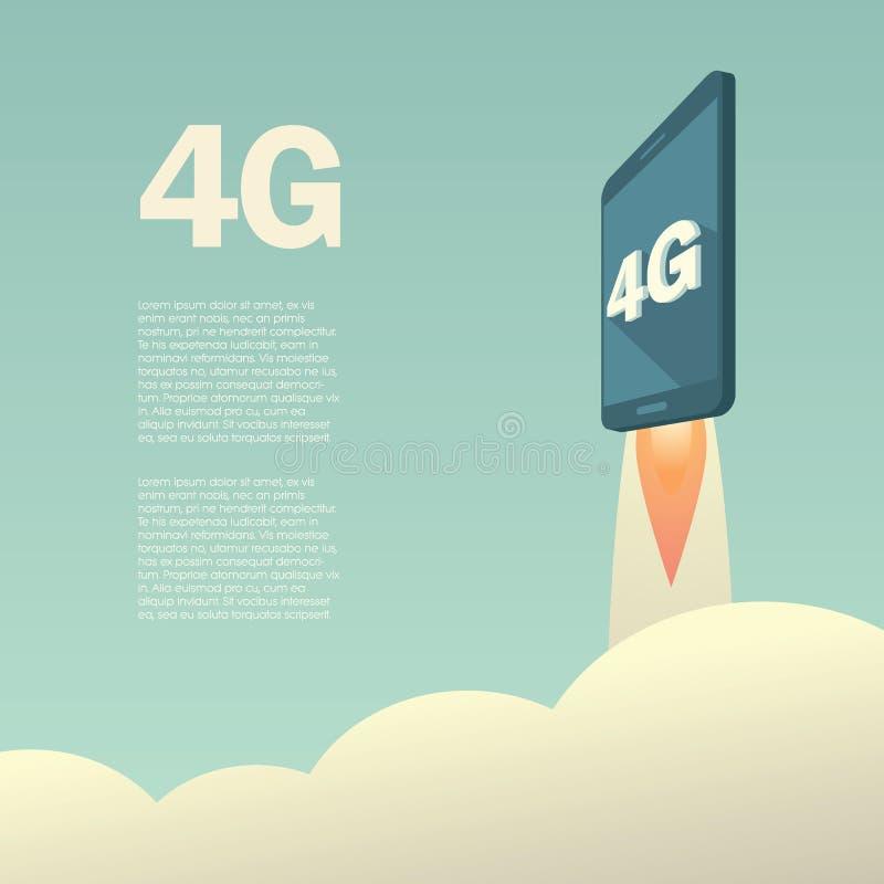 4G o plantilla del cartel de la presentación de LTE con ilustración del vector