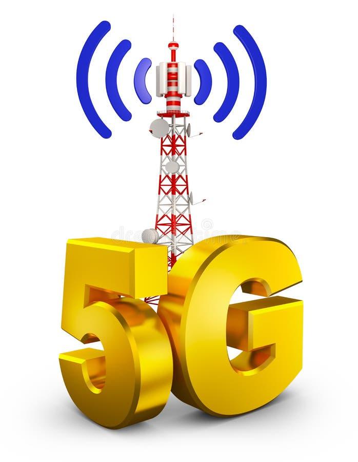 5G och torn royaltyfri illustrationer