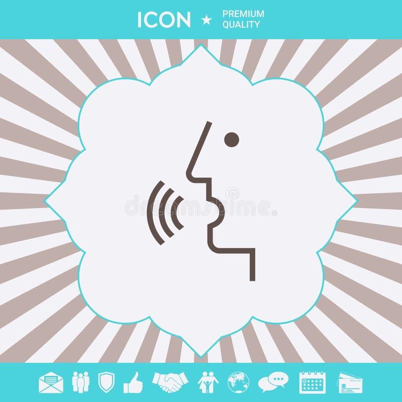 G?os kontrola, osoba opowiada - ikona Graficzni elementy dla tw?j projekta ilustracji