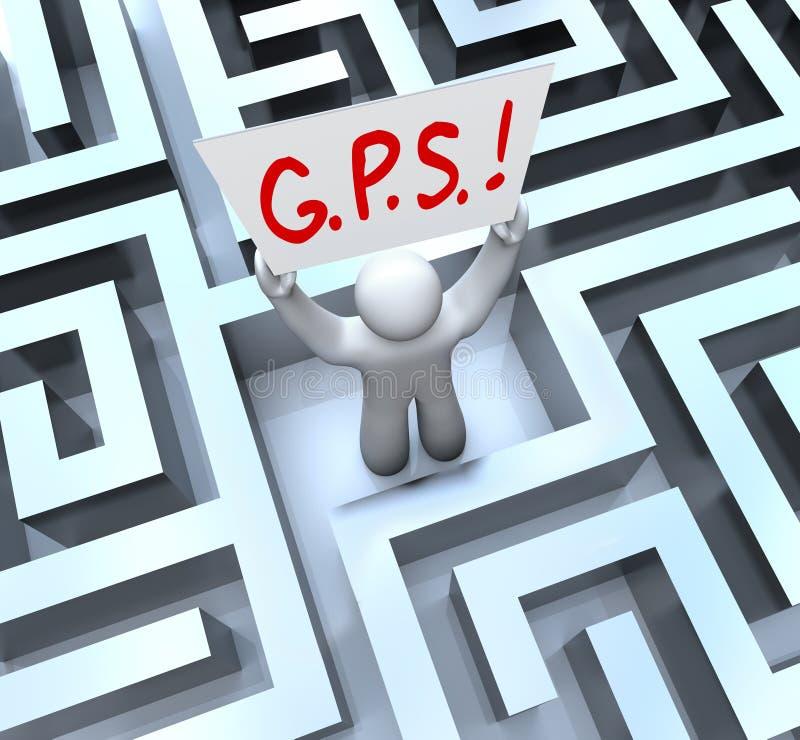 G.P.S. Персона спутниковой навигационной системы потерянная в лабиринте иллюстрация вектора