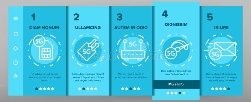 5G Poścą sieć, związek strona internetowa wektor Onboarding ilustracja wektor