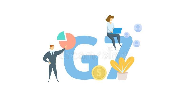 G7 Poj?cie z s?owami kluczowymi, listami i ikonami, P?aska wektorowa ilustracja pojedynczy bia?e t?o ilustracji