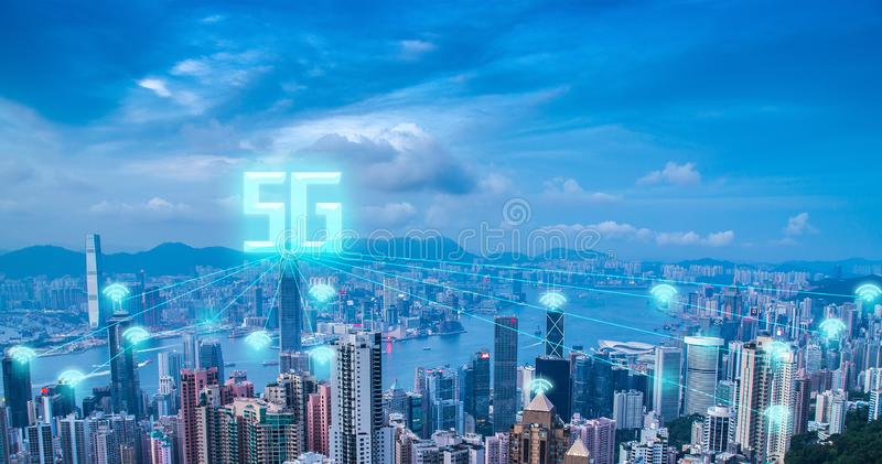 5g prędkości wysokiej sieci interneta komunikacyjny technologya fotografia royalty free