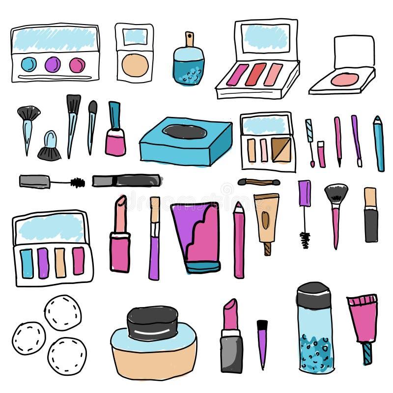 g?r aktiveringen Hjälpmedel och skönhetsmedel Ögonskuggor, läppstift, fundament och andra symboler i utdragen besynnerlig stil fö royaltyfri illustrationer