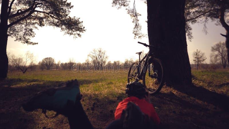 G?r den turist- cyklisten f?r den unga caucasian kvinnaidrottsman nen fotoet p? telefonen, fotografier hans cykelanseende n?ra tr royaltyfria bilder
