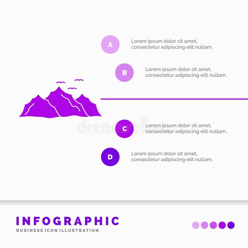 g?ra, krajobraz, wzg?rze, natura, ptaka Infographics szablon dla strony internetowej i prezentacja, glif Purpurowej ikony infogra ilustracja wektor