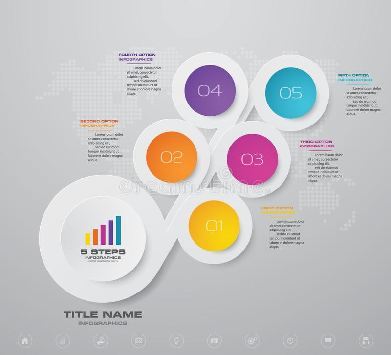 G?ra sammandrag f?r presentationsdiagrammet f?r 5 moment best?ndsdelen f?r infographicsen royaltyfri illustrationer