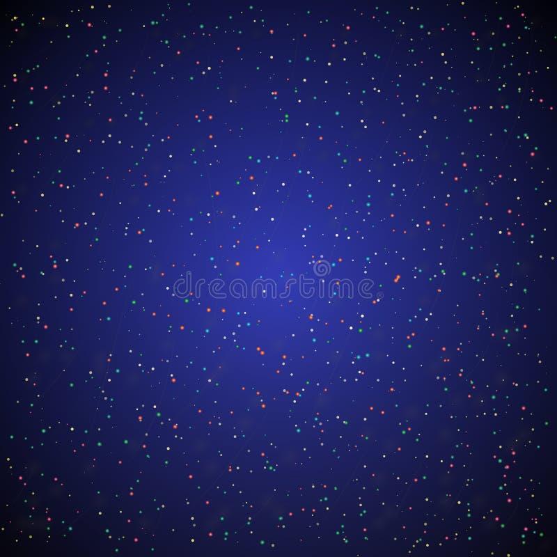 G?ra sammandrag stj?rnabakgrund Mörkt - blå himmel med färgstjärnor vektor illustrationer