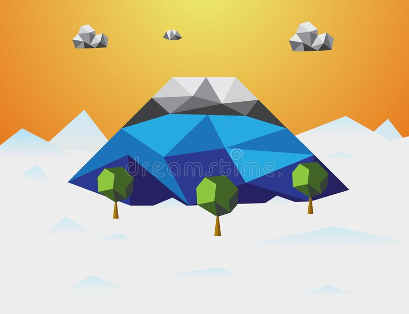 G?ra w zimy Niskim poli- tle G?ra, chmura i drzewa w sk?adniku Natury i krajobrazu poj?cie Abstrakt i ilustracji