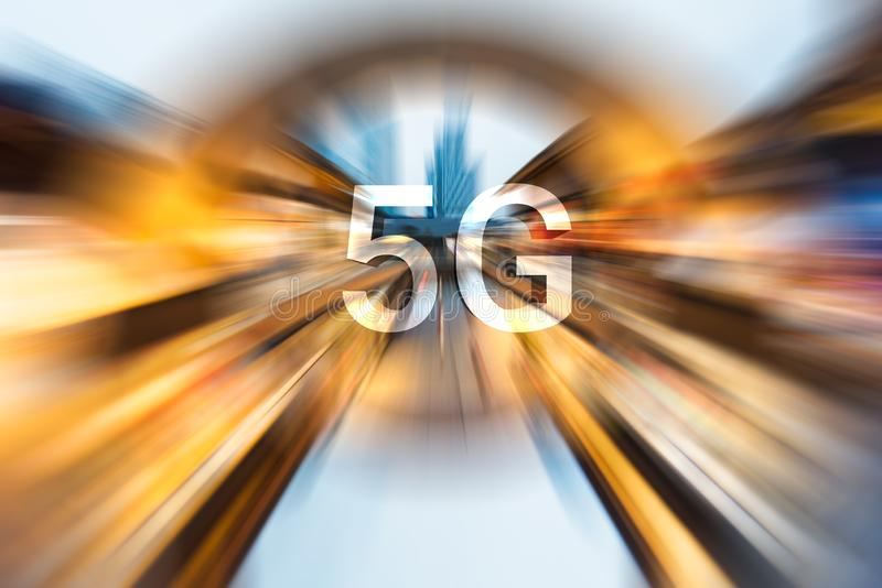 5G on a radial blurred background. 5G on a radial blurred cityscape background stock image