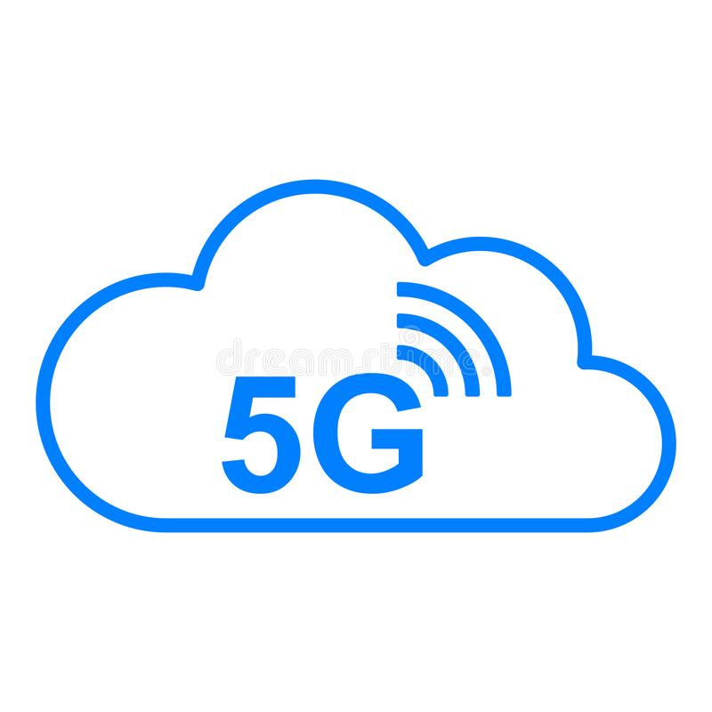 5G radio en wolk vector illustratie