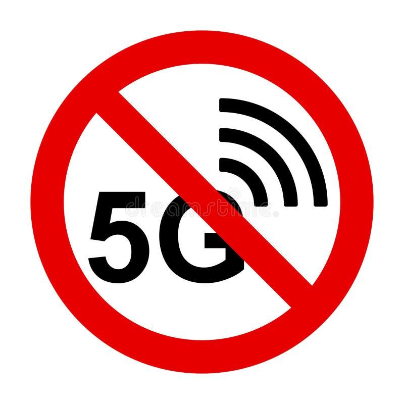 5G radio i prohibicja znak ilustracja wektor