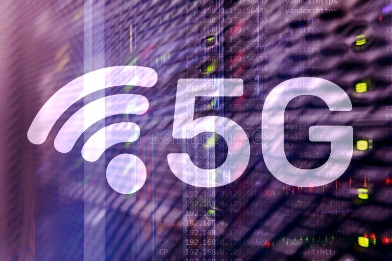 5G red, concepto de la conexi?n a internet 5G en fondo digital Concepto elegante de la red de comunicaciones libre illustration