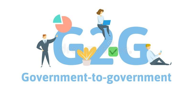 G2G regering till regeringen Begrepp med nyckelord, bokstäver och symboler Plan vektorillustration Isolerat på vit stock illustrationer