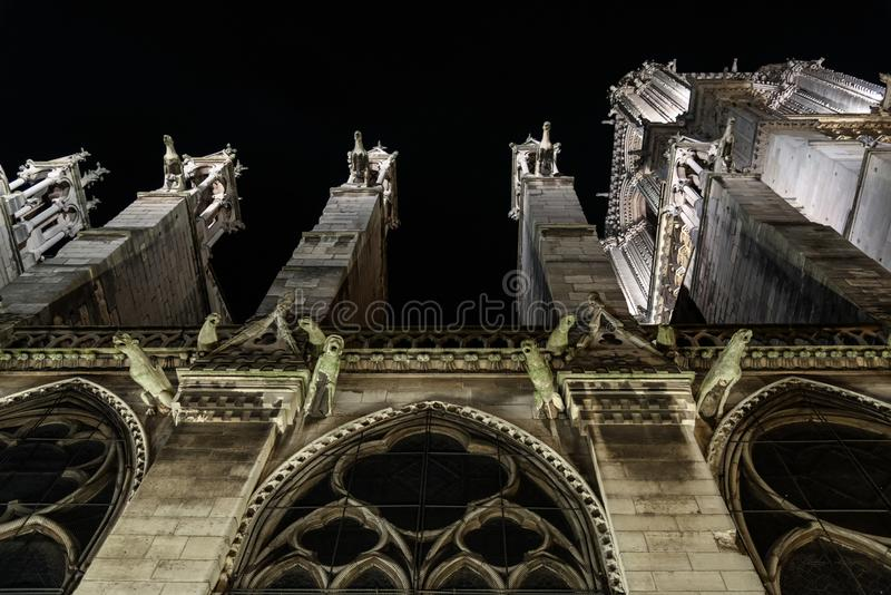 G?rgolas de la catedral de Notre Dame, Par?s, Francia Se?al de los turistas Opini?n de la noche imagenes de archivo
