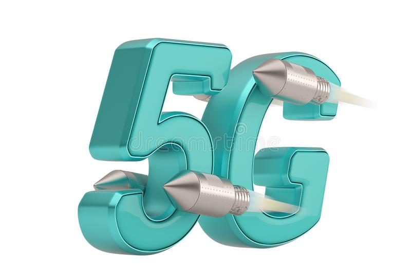 5G and rocket 3D logo isolated on white background. 3D illustration.  royalty free illustration