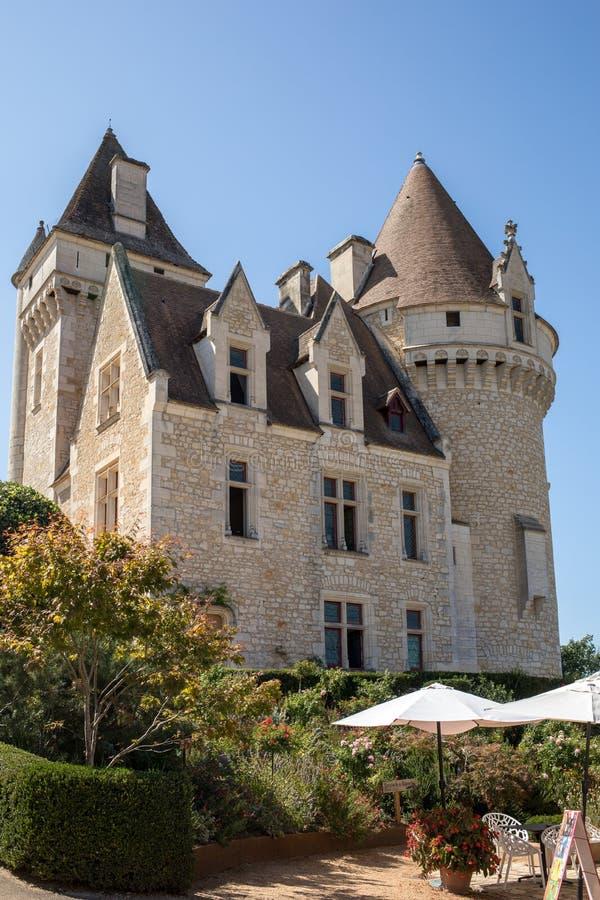 G?rskiej chaty des Milandes, kasztel w Dordogne od forties lata sze??dziesi?te xx wiek, nale?a? Josephine p??dupki fotografia stock