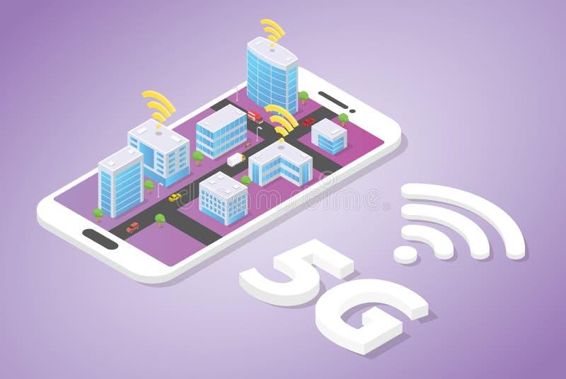 5g sieć na mądrze miasto budynku technologii z wifi sygnałem na górze smartphone z isometric nowożytnym stylem - wektor ilustracja wektor