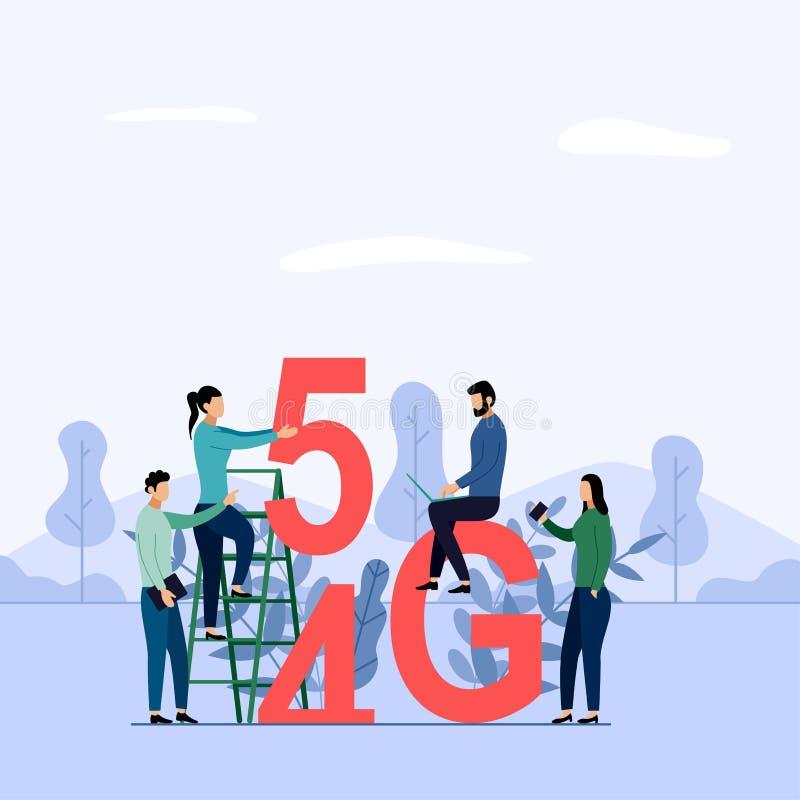 5G sieci bezprzewodowego systemu wifi związek, szybkościowy mobilny internet używać nowożytnych cyfrowych przyrząda, biznes ilustracji
