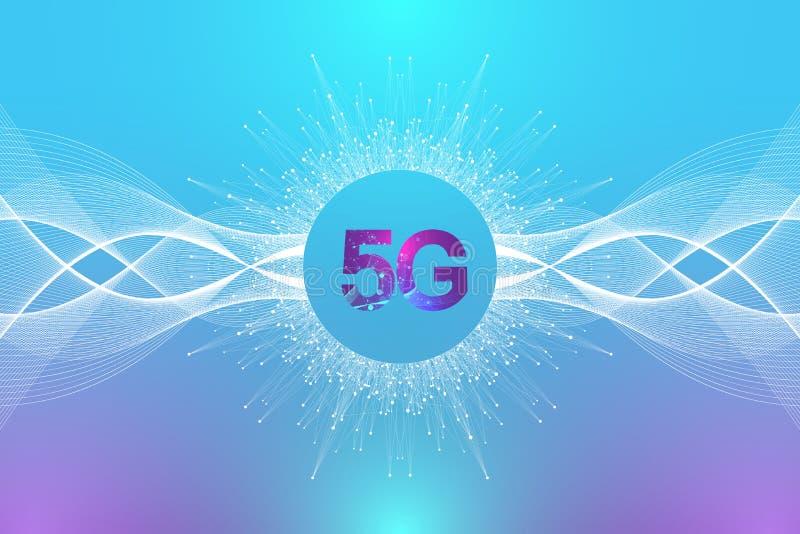 5G sieci bezprzewodowy system i połączenia z internetem tło 5G symbolu sieć komunikacyjna Biznesowa technologia ilustracja wektor
