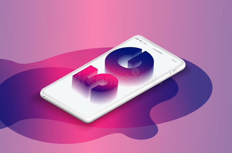 5G sieci technologii bezprzewodowej wektoru ilustracja Isometric smartphone z listami 5g Szybko?ciowy mobilny internet ilustracja wektor
