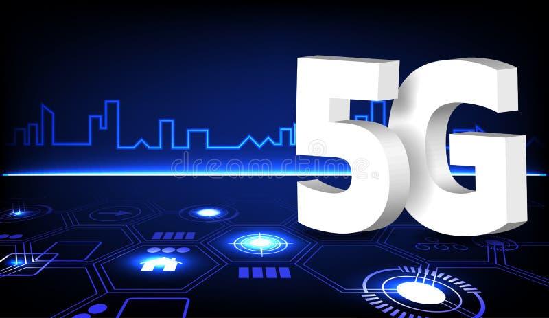 5G sieci związek na futurystycznym mieście ilustracji