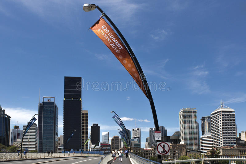 G20 signage, Brisbane, Austrália imagens de stock