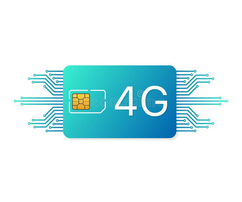 4G Sim Card. Mobile telecommunications technology symbol. Vector illustration. vector illustration