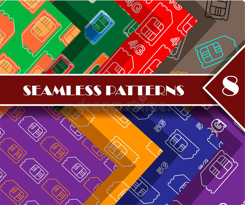 Sim card seamless pattern set vector illustration