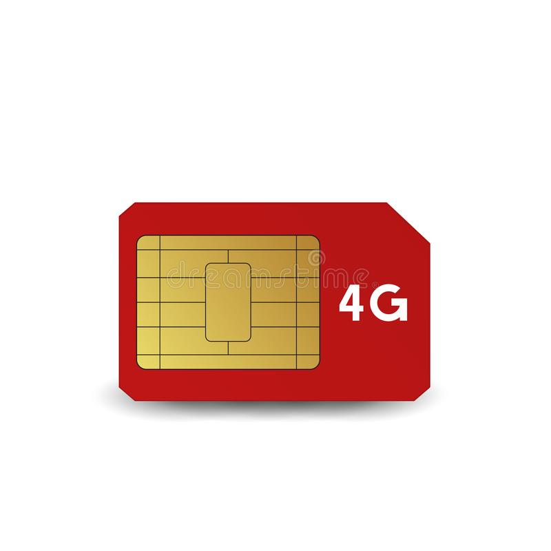 4G SIM card. Vector illustration. Mobile networks and telecommunications royalty free illustration