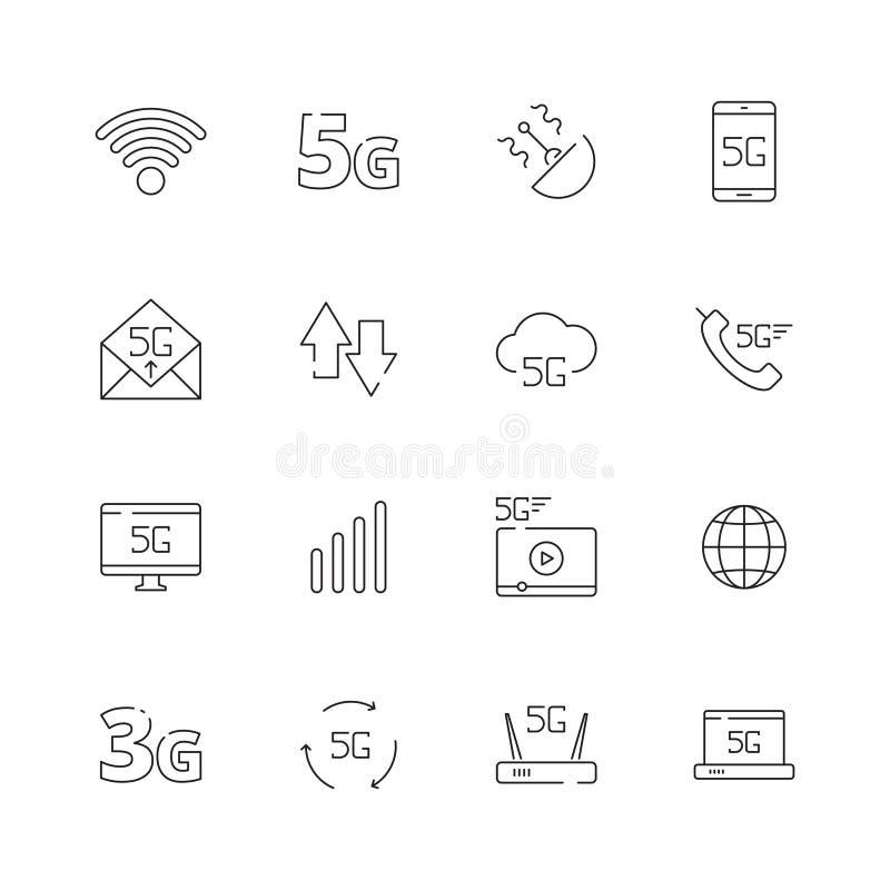 5G Simboli senza fili liberi di vettore di Internet 4g del telefono della nuvola di tecnologia di sicurezza dell'icona della rete illustrazione vettoriale
