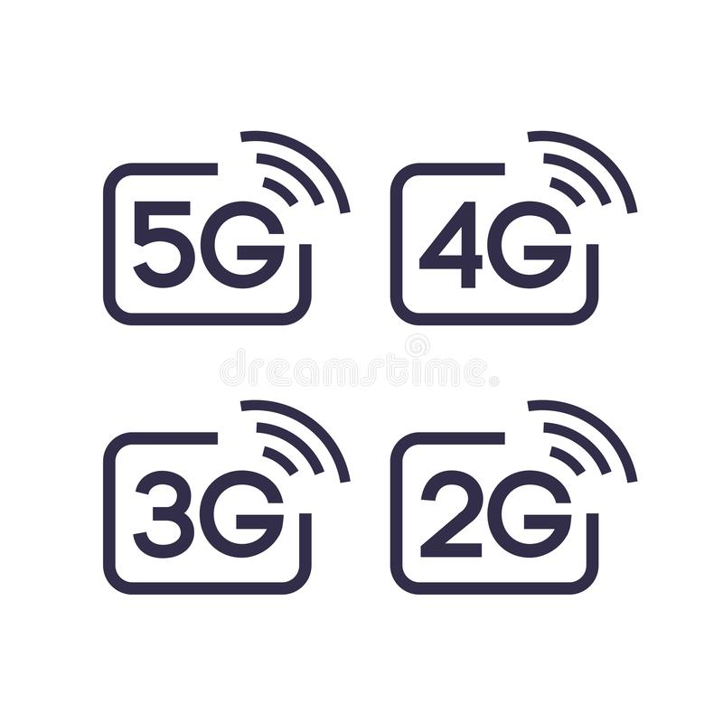 5G, 4G, 3G, sistema de símbolo del vector 2G ilustración del vector