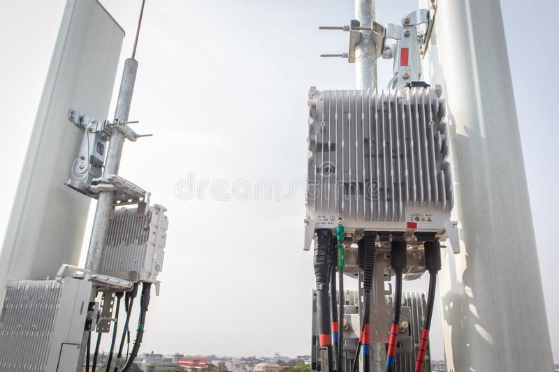 Smart mobile telephone radio network antenna base station. Transmitter connection system at cellular phone antennas. 5G smart mobile telephone radio network stock photo