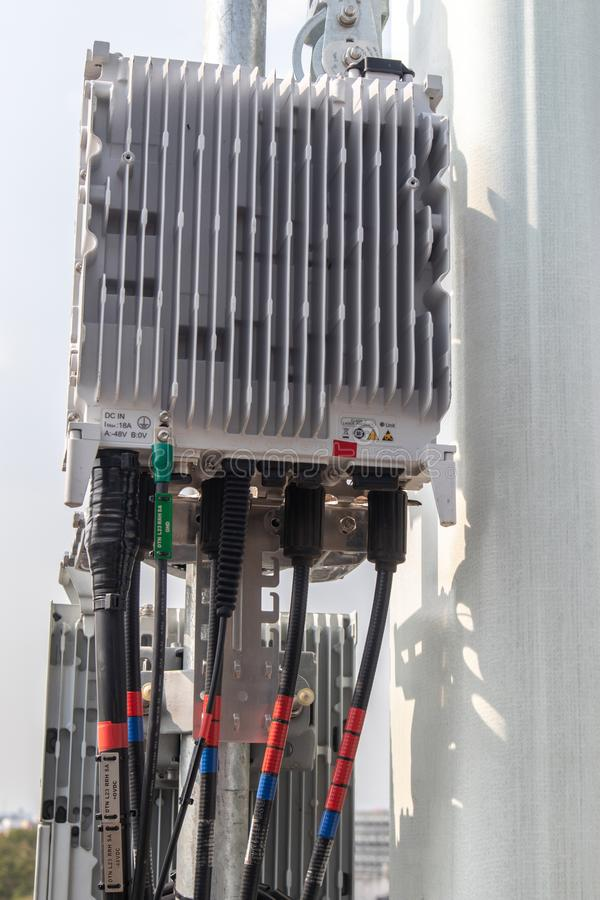 Smart mobile telephone radio network antenna base station. Transmitter connection system at cellular phone antennas. 5G smart mobile telephone radio network stock photography