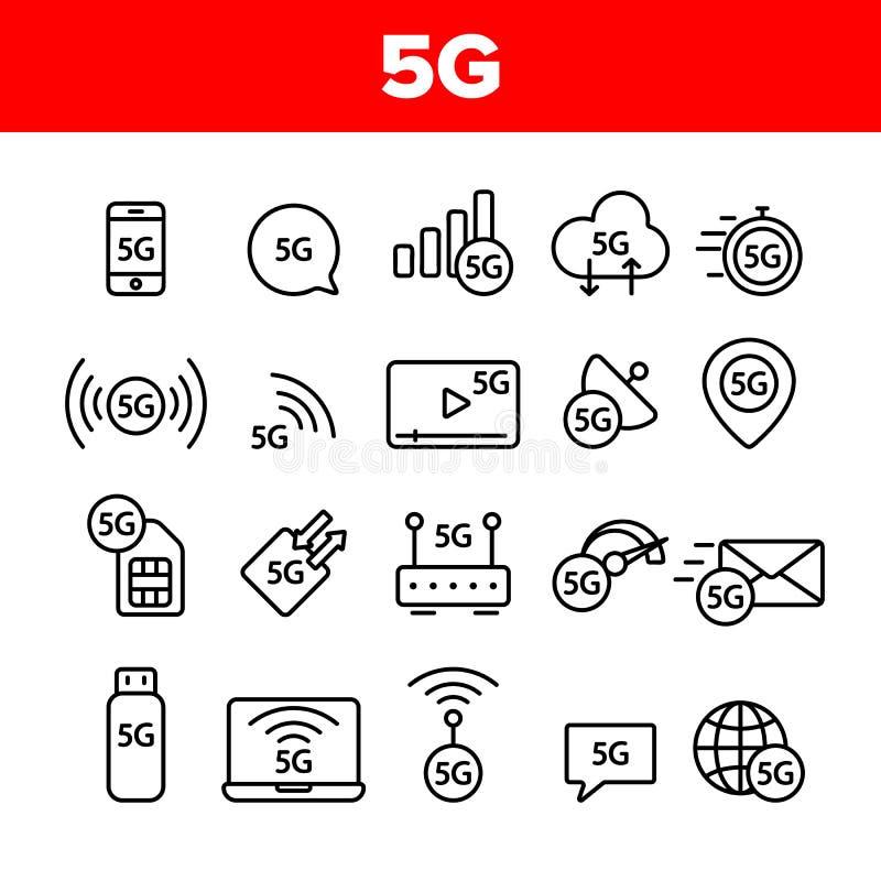 5G snabbt nätverk, anslutning till uppsättningen för Websitevektorsymboler stock illustrationer