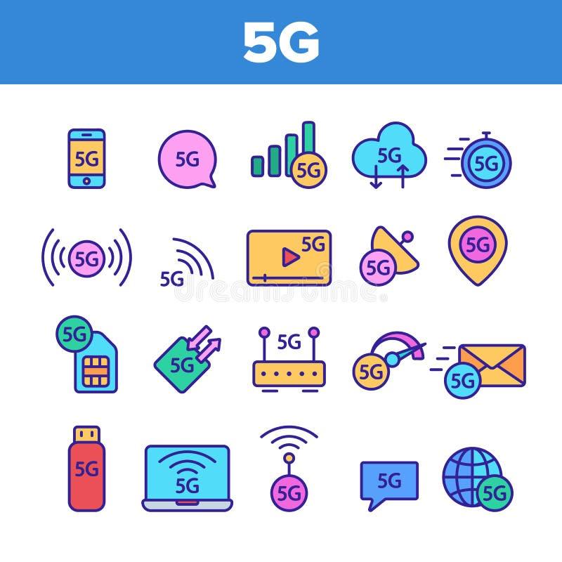 5G snabbt nätverk, anslutning till uppsättningen för Websitevektorsymboler royaltyfri illustrationer