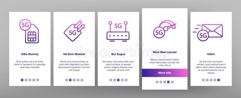 5G snabbt nätverk, anslutning till Websitevektorn Onboarding royaltyfri illustrationer