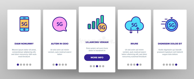 5G snabbt nätverk, anslutning till Websitevektorn Onboarding vektor illustrationer