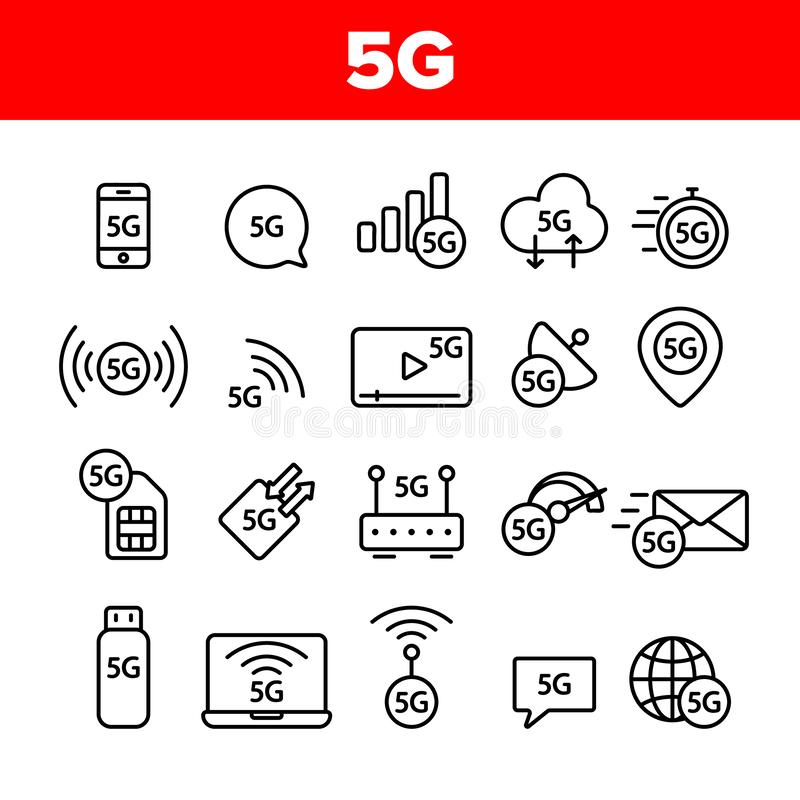 5G snel Netwerk, Verbinding aan Geplaatste Website Vectorpictogrammen stock illustratie