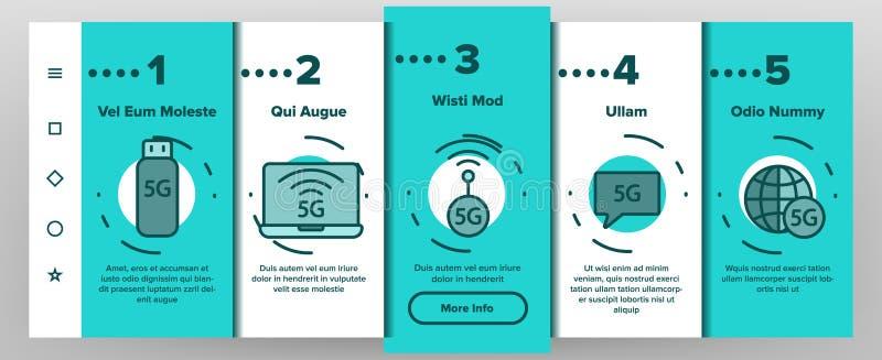 5G snel Netwerk, Verbinding aan Website Vectoronboarding royalty-vrije illustratie