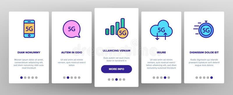 5G snel Netwerk, Verbinding aan Website Vectoronboarding vector illustratie