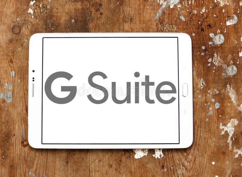 G Suite logo. Logo of G Suite on samsung tablet. G Suite is a brand of cloud computing, productivity and collaboration tools, software and products developed by stock image