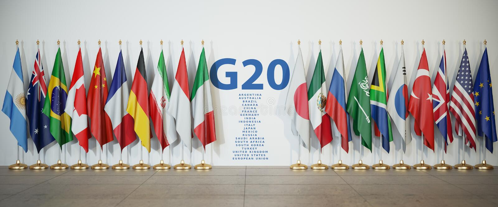 G20 summit or meeting concept. Row from flags of members of G20. Group of Twenty and list of countries, 3d illustration royalty free illustration